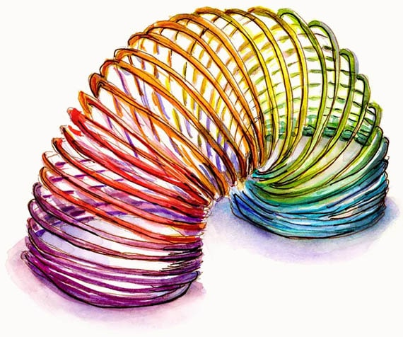 Wire Rainbow Toy Watercolor Illustration